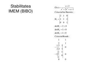 Stabilitatea IMEM (BIBO)