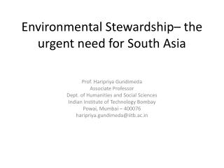 Environmental Stewardship– the urgent need for South Asia