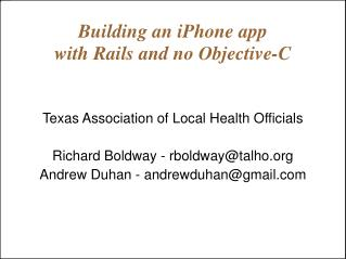 Building an iPhone app  with Rails and no Objective-C
