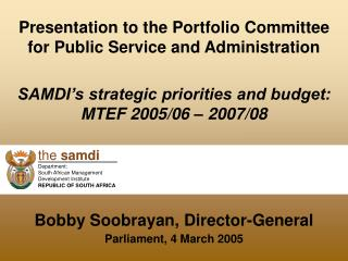 Presentation to the Portfolio Committee for Public Service and Administration