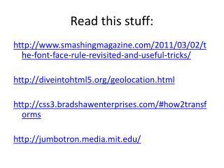 Read this stuff: