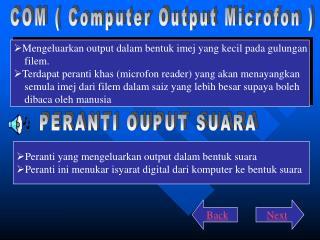 COM ( Computer Output Microfon )