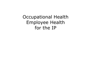 POST EXPOSURE PROPHYLAXIS FOR OCCUPATIONAL EXPOSURE TO HIV IN HEALTH CARE PERSONNEL