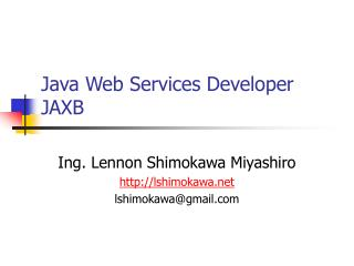 Java Web Services Developer JAXB