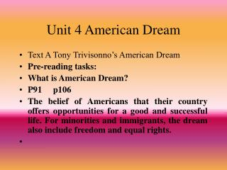 Unit 4 American Dream