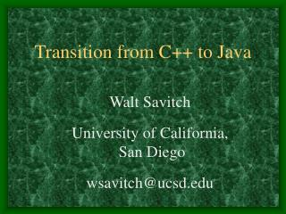 Transition from C++ to Java