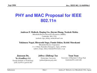 PHY and MAC Proposal for IEEE 802.11n