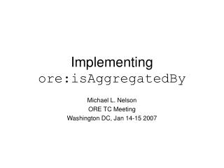 Implementing  ore:isAggregatedBy
