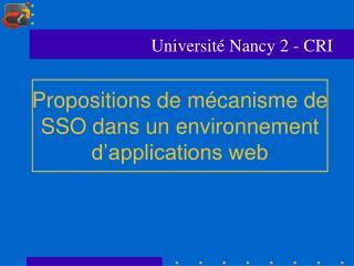 Propositions de mécanisme de SSO dans un environnement d'applications web