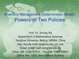 Inventory Management (Deterministic Model): Powers-of-Two Policies