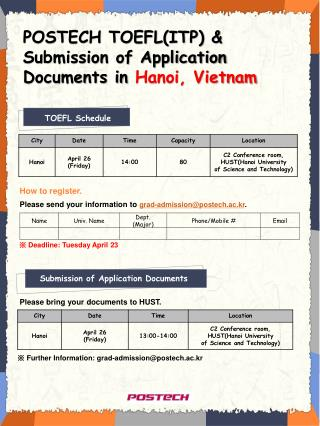 POSTECH TOEFL(ITP) & Submission of Application Documents in  Hanoi, Vietnam