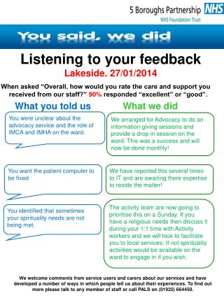 Listening to your feedback Lakeside. 27/01/2014