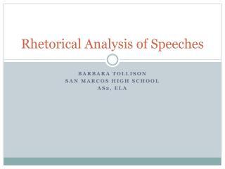 Rhetorical Analysis of Speeches