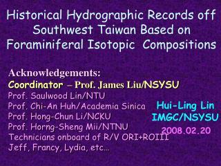 Hui-Ling Lin IMGC/NSYSU 2008.02.20