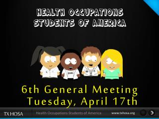 6th General  Meeting Tuesday,  April 17th