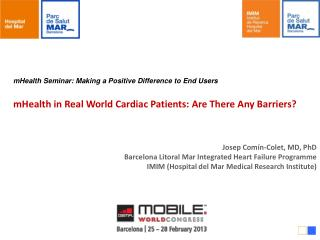 mHealth  Seminar: Making a Positive Difference to End Users