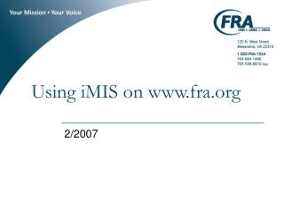 Using iMIS on fra