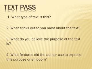 Text pass