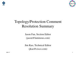 Topology/Protection Comment Resolution Summary