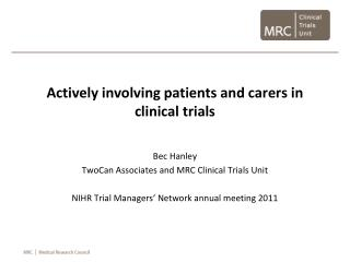 Actively involving patients and carers in clinical trials