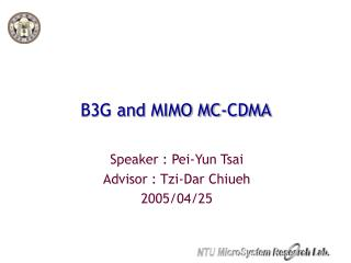 B3G and MIMO MC-CDMA