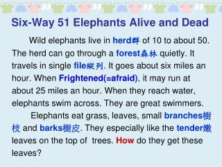 Six-Way 51 Elephants Alive and Dead