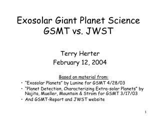 Exosolar Giant Planet Science  GSMT vs. JWST