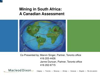 Mining in South Africa:   A Canadian Assessment