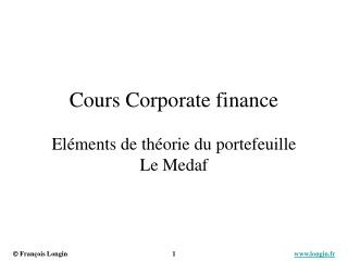 Cours Corporate finance El�ments de th�orie du portefeuille Le Medaf