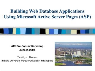 Building Web Database Applications Using Microsoft Active Server Pages (ASP)