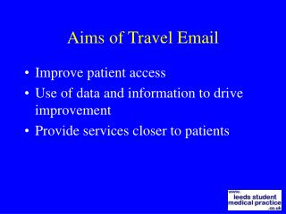 Aims of Travel Email