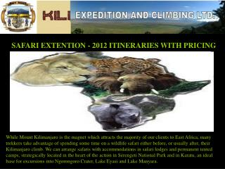 SAFARI EXTENTION - 2012 ITINERARIES WITH PRICING