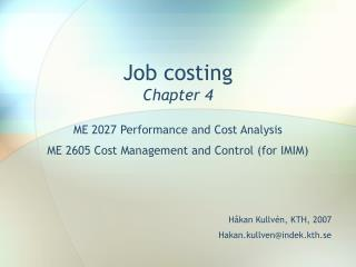 Job costing Chapter 4