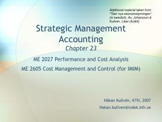 Strategic Management Accounting Chapter 23