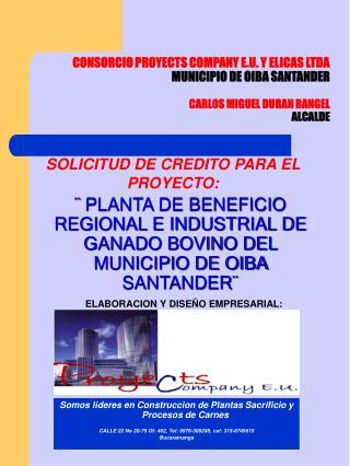 CONSORCIO PROYECTS COMPANY E.U. Y ELICAS LTDA MUNICIPIO DE OIBA SANTANDER  CARLOS MIGUEL DURAN RANGEL ALCALDE