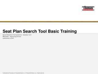 Seat Plan Search Tool Basic Training
