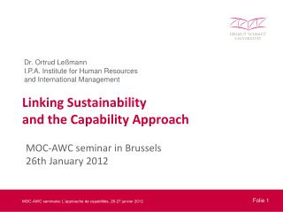 Linking Sustainability  and the Capability Approach