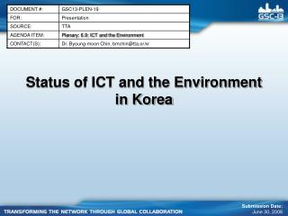 Status of ICT and the Environment in Korea