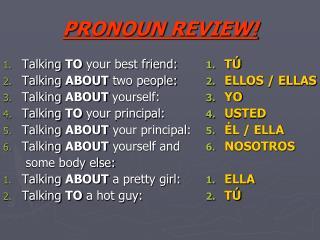 PRONOUN REVIEW!