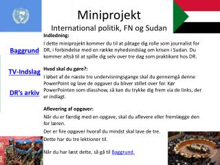 Miniprojekt International politik, FN og Sudan