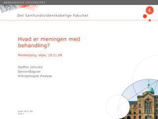 Hvad er meningen med behandling? Munkebjerg, Vejle, 18.11.08.