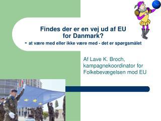 Af Lave K. Broch, kampagnekoordinator for Folkebev�gelsen mod EU