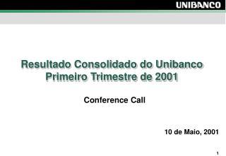 Resultado Consolidado do Unibanco  Primeiro Trimestre de 2001