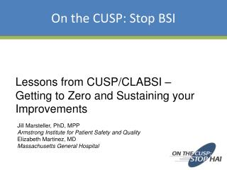 Lessons from CUSP/CLABSI –  Getting to Zero and Sustaining your Improvements