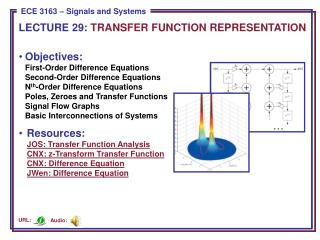 LECTURE  29:  TRANSFER FUNCTION REPRESENTATION