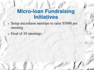 Micro-loan Fundraising Initiatives