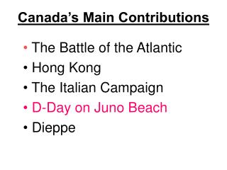 Canada's Main Contributions