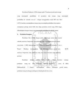 "8 Penelitian Nurhayati (1996) dengan judul ""Penalaran moral pada remaja"