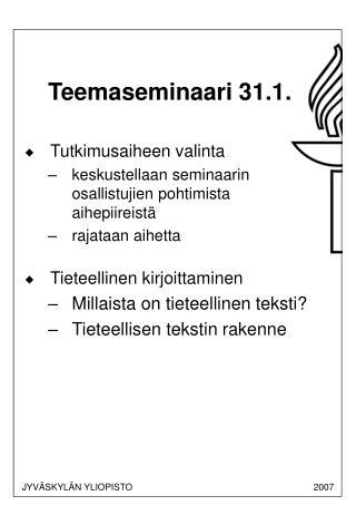 Teemaseminaari 31.1.