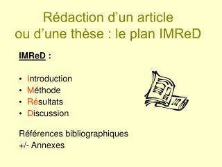 Rédaction d'un article  ou d'une thèse : le plan IMReD